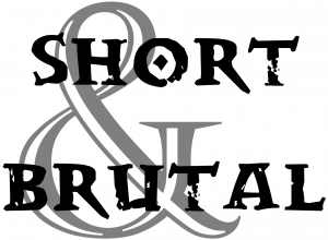 "The official Short & Brutal logo, which simply features the words ""Short & Brutal"" in a block font."