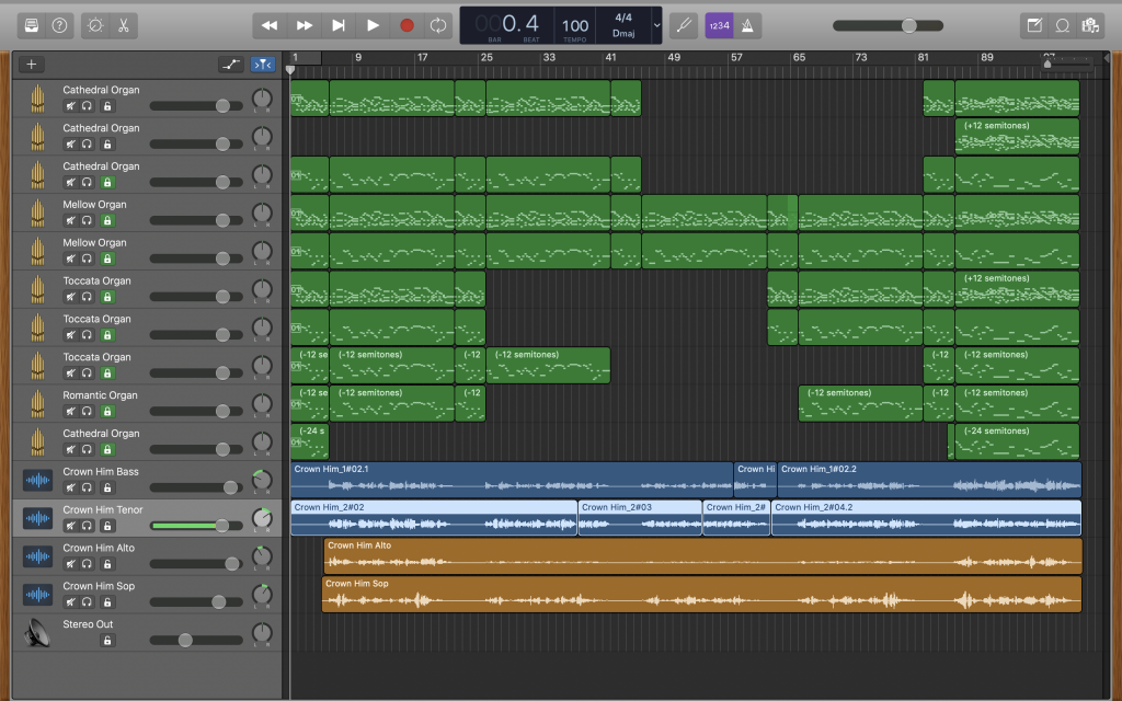 Screenshot of Garageband with multiple tracks.